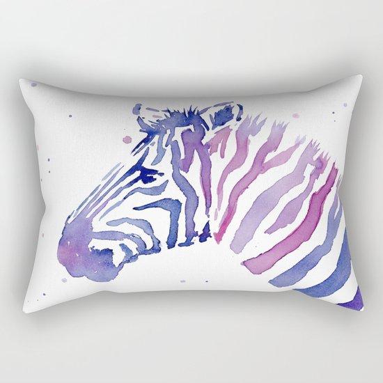 Zebra Watercolor Purple Stripes Animal Rectangular Pillow