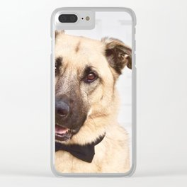 Beautiful rescue dog wearing a bow tie! Clear iPhone Case