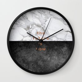 The Future Is Now, Black White Marble Wall Clock