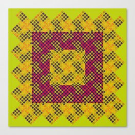 Dot Swatch Equivocated on Chartreuse Canvas Print