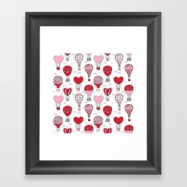 hot air balloon love valentines day gifts heart shape girls nursery Framed Art Print