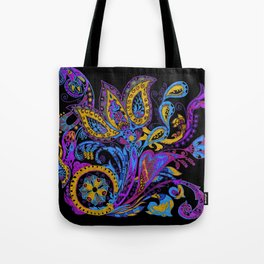 Russian style ornate flowers with paisley trend Tote Bag