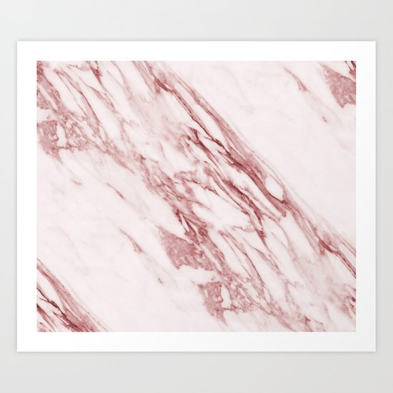 Deep rose pink marble Art Print