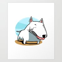 bull terrier Art Prints featuring Bull Terrier by Jaume Tenes