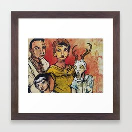 But We Love Her Anyway - creepy family portrait Framed Art Print