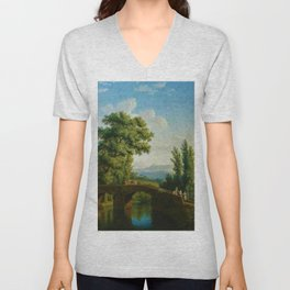 Italian Landscape with a Bridge and View of Monte Sarchio by Jakob Philipp Hackert Unisex V-Neck