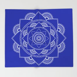 Mandala 01 - White on Royal Blue Throw Blanket