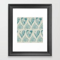 Blue and beige tangled heart pattern Framed Art Print