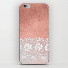 White floral luxury lace on pink rosegold grunge backround iPhone Skin