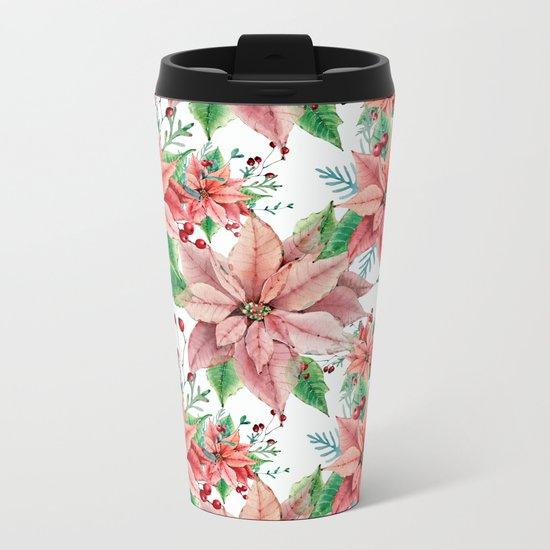 Red Poinsettia Metal Travel Mug