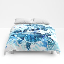 Three Sea Turtles, blue bathroom turtle artwork, Underwater Comforters