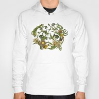pug Hoodies featuring Botanical Pug by Huebucket