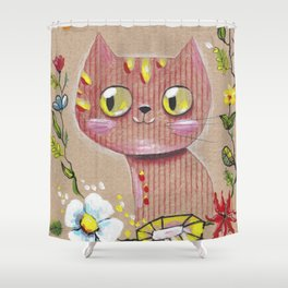 Red Cat Knows All Shower Curtain