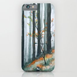 In the middle of forest fog iPhone Case