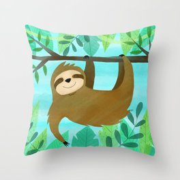Cute Sloth Throw Pillow
