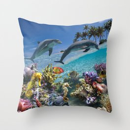Coral Reef and Dolphins Throw Pillow