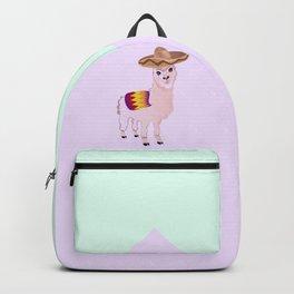Cartoon Alpaca in Sombrero Backpack