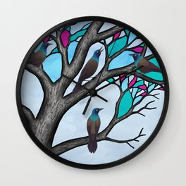 grackles in the stained glass tree Wall Clock