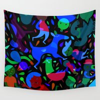 party Wall Tapestries featuring Party! by Judy Kaufmann