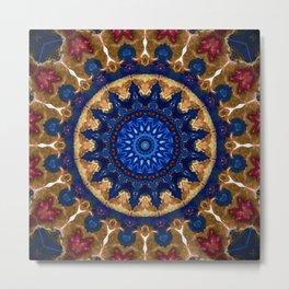 Royal Blue Gold Mandala Design Metal Print