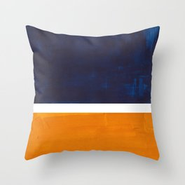 Navy Blue Yellow Ochre Abstract Minimalist Rothko Colorful Mid Century Color Block Pattern Throw Pillow