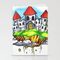 castle in the sky Stationery Cards featuring Castle In The Sky by Factory Three