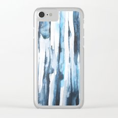 Blue Ice Watercolor Clear iPhone Case