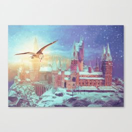 HP Inspired Hogwarts Owl Painting Castle Canvas Print