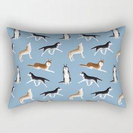 Husky Pattern (Blue Gray Background) Rectangular Pillow