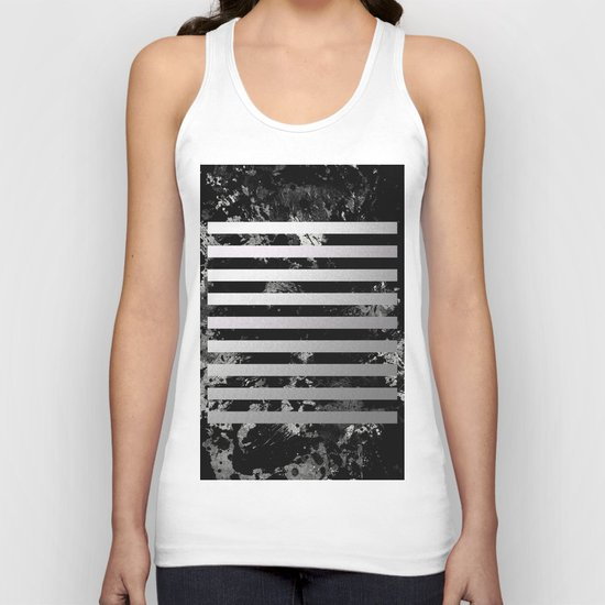 Industrial Action - Metallic, black and white, abstract, geometric, textured painting Unisex Tank Top
