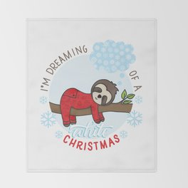 Sloth dreaming of a White Christmas Throw Blanket