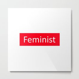 Feminist Red Rectangle Metal Print