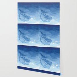 Mermaid, watercolor, blue, fish Wallpaper