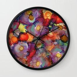 Alcohol Ink Flower Bouquet Wall Clock