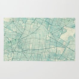Mexico City Map Blue Vintage Rug