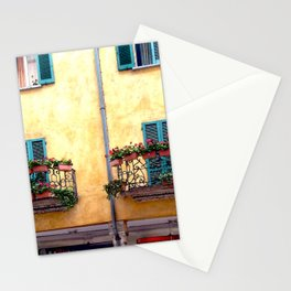 Twin balconies with flower boxes. Stationery Cards