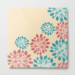 Flower Flurries Beige Metal Print