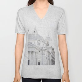 Antique Rome city walls, abstract white church art Unisex V-Neck