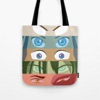 zuko Tote Bags featuring Team Avatar by Kazuma Shimizu