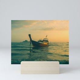 Dreamy fishing boat at sea in the early morning Mini Art Print