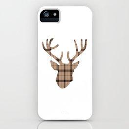 Plaid Deer Head: Brown iPhone Case