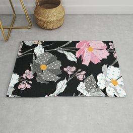 Paper Flowers in Pink Black and White Rug