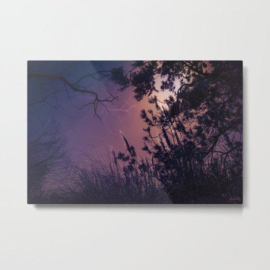 Moonlight Sonata (Tree and Reed Plant Silhouette) Metal Print