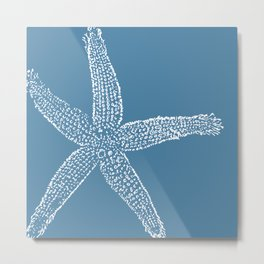 Starfish-white on blue Metal Print