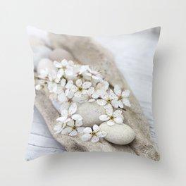 Sakura White Cherry Blossom On Driftwood Zen Minimalism Style Still Life Throw Pillow