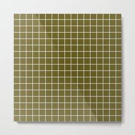 Antique bronze - green color - White Lines Grid Pattern Metal Print