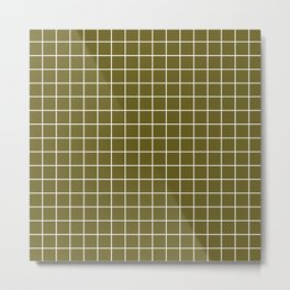 Antique bronze - green color - White Lines Grid Pattern Metal Print