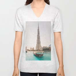 A boat and the Burj Unisex V-Neck