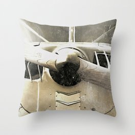 Antique Airplane Propeller Throw Pillow