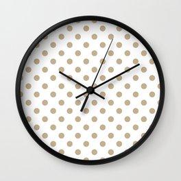 Small Polka Dots - Khaki Brown on White Wall Clock